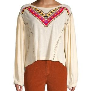 NWT FREE PEOPLE HAND ME DOWN EMBROIDERED SHIRT